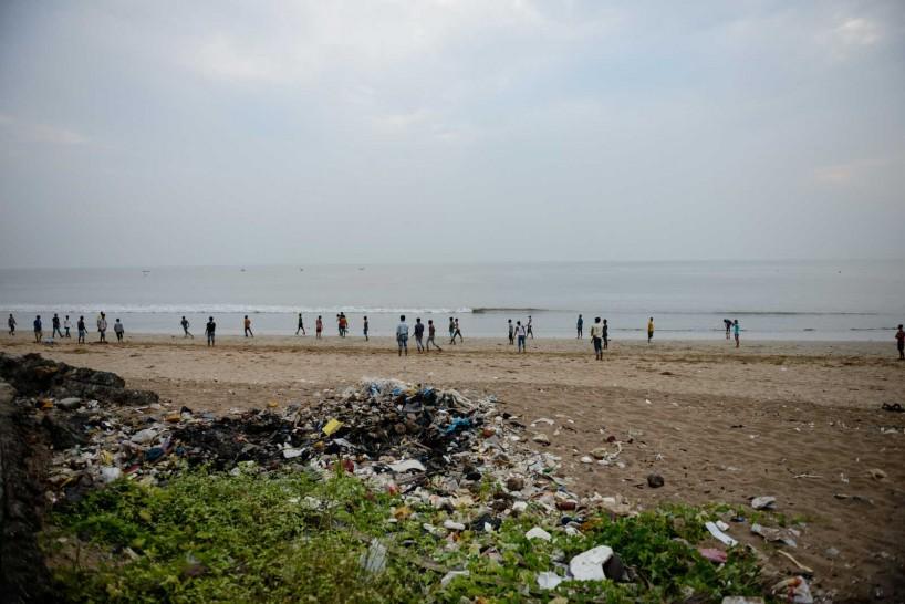Mumbai : Juhu Beach : October 2012 : football on the beach