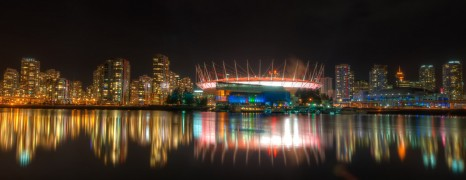 Vancouver's Olympic Village At Night