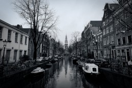 Amsterdam Dec 2011 canal black and white