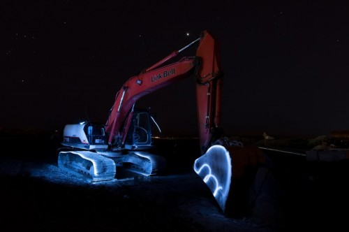Light painting attempt back hoe