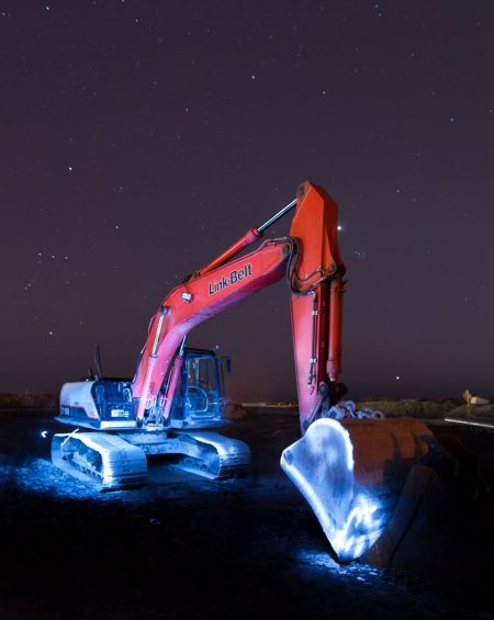Light painting attempt back hoe 2