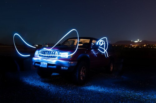 Light painting Toyota Tacoma Andrew horns