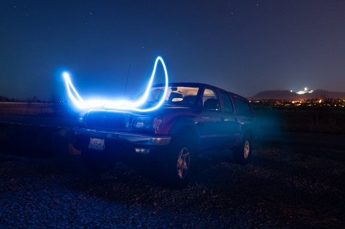 Light painting Toyota Tacoma Mike horns