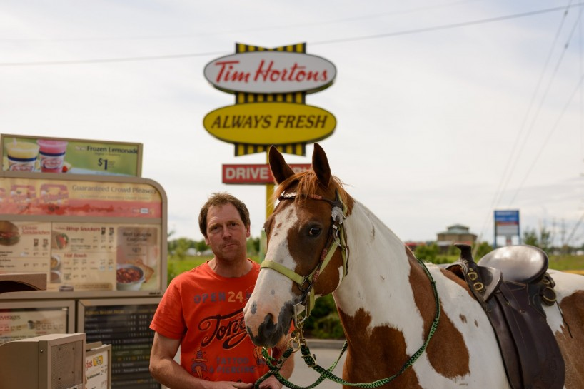 Tim Horton's Drive Through Horse - Quesnel BC July 2012