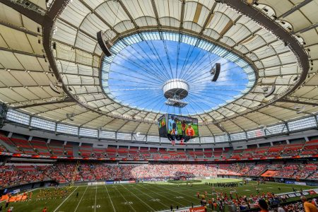 CFL Football : BC Lions vs Montreal Alouettes : Sept 8 2012 : BC Place Stadium Open Roof