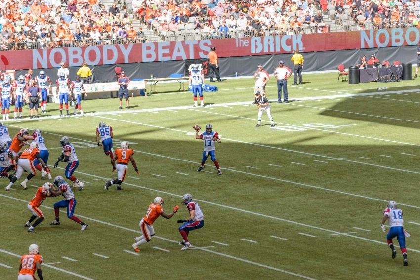 CFL Football : BC Lions vs Montreal Alouettes : Sept 8 2012 : QB