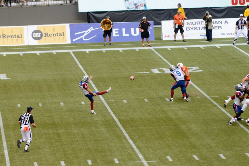 CFL Football : BC Lions vs Montreal Alouettes : Sept 8 2012 : Punt