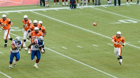 CFL Football : BC Lions vs Montreal Alouettes : Sept 8 2012 : QB Toss