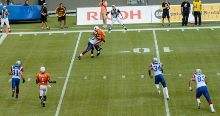 CFL Football : BC Lions vs Montreal Alouettes : Sept 8 2012 : Big hit