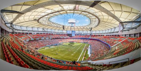CFL Football : BC Lions vs Montreal Alouettes : Sept 8 2012 : BC Place Stadium Panorama
