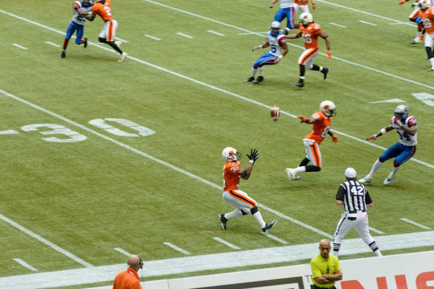 CFL Football : BC Lions vs Montreal Alouettes : Sept 8 2012 : Punt Return