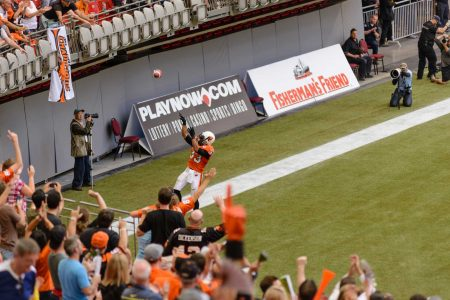 CFL Football : BC Lions vs Montreal Alouettes : Sept 8 2012 : Football free throw