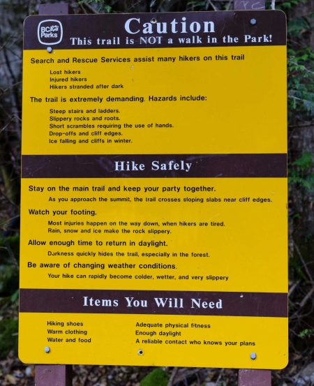 Stawamus Chief - South Peak - Squamish BC - 2012-09-13 : Warning