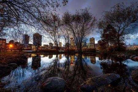 Vancouver : Portside / Crab Park : Vancouver skyline reflection 2 : 2012-11-21
