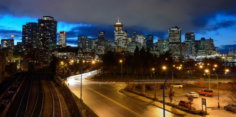 Vancouver : Portside / Crab Park : Vancouver skyline long exposure : 2012-11-21