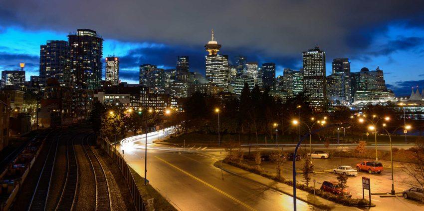 Vancouver : Portside / Crab Park : Vancouver skyline long exposure : 2012-11-21