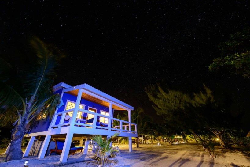 2012-12-02 : Belize Vacation : Coco Plum Island Resort : Cabana at Night with Light Painting
