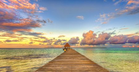 2012-12-05 : Belize Vacation : Coco Plum Island Resort : The Dock At Sunset