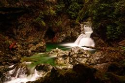 Lynn Valley Hike : Suspension Bridge and Twin Falls 2012-12-29 : Twin falls long exposure