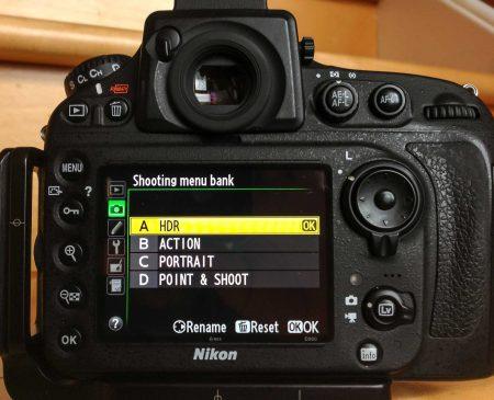Nikon D800 Shooting Menu Bank Selection
