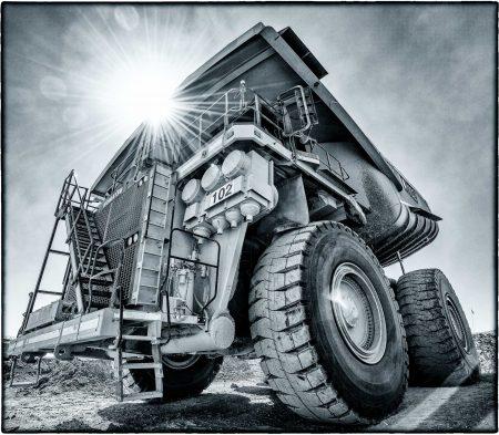 Komatsu Haul Truck Black & White : Copper Mine, Calama, Chile