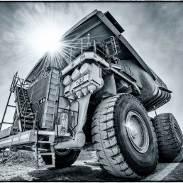 Komatsu Haul Truck Black & White : Copper Mine, Calama, Chile