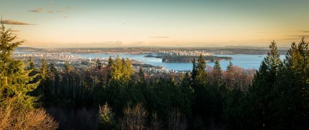 Cypress Mountain Snowshoeing 2014-03-20: View of Vancouver - Panorama