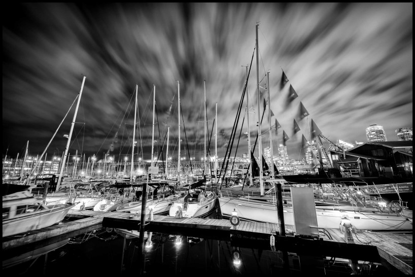 Black & White Long Exposure 2014-03-30: Granville Island Harbour, Vancouver