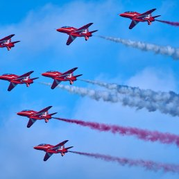 RAF Red Arrows Fly By in Vancouver, BC, Canada